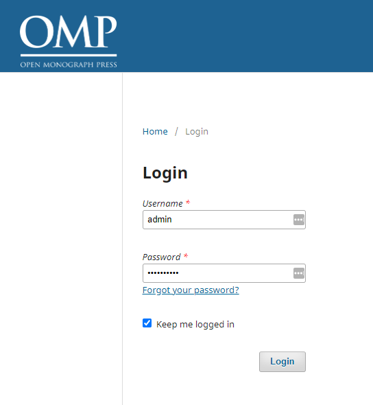 OMP login page, enter the administrator account that you created earlier.