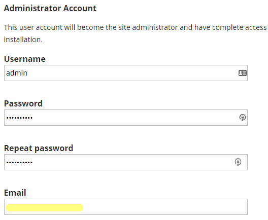 Fill in the account data for the OJS admin