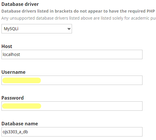 Enter your database username and password. As well as the name of the database that you have created.
