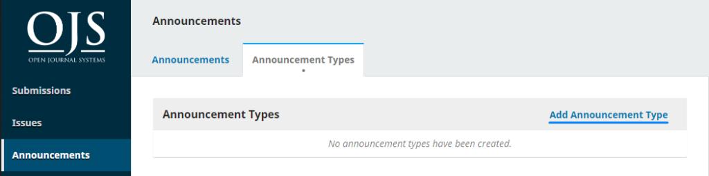 Adding an announcement type