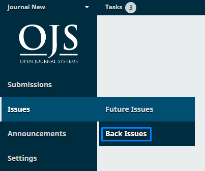 """Select """"Back Issues"""""""