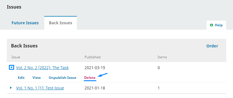 """Select the """"Back Issue"""" you want to delete."""