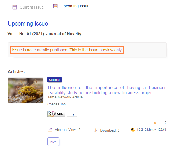 """""""Novelty Theme"""" that can show the Future Issue on OJS 3"""