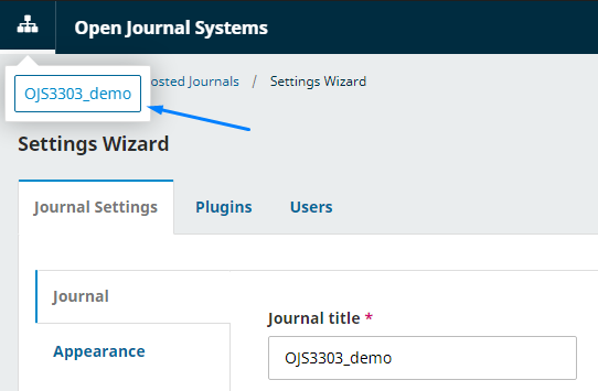 "Click on the left corner of the top and select ""Journal"" that was created."