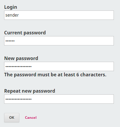 Fill in the resetting form.