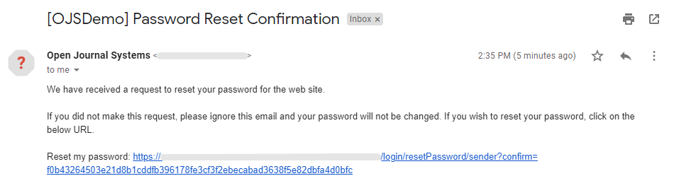 Clicking on the link to confirm the account password reset.