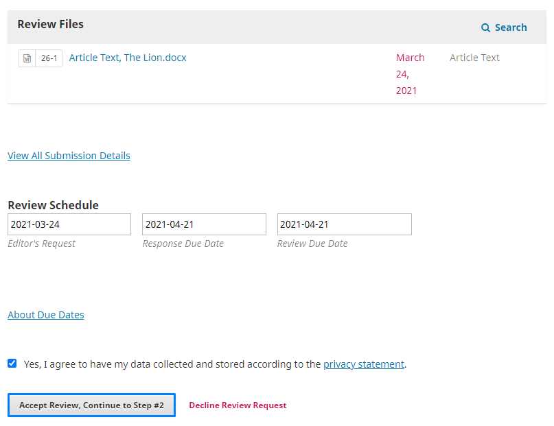 """Select """"Accept Review"""" if you wish to review the submission, otherwise. Select """"Decline Review Request""""."""