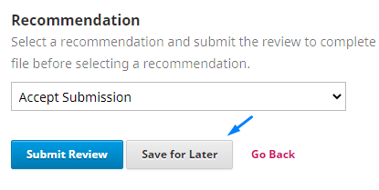 """""""Save for later"""" if want save the progress Reviewing"""