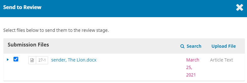 Select the file to send to the stage review.