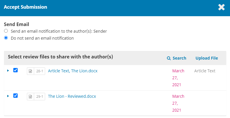 Select a review file to share with the author.