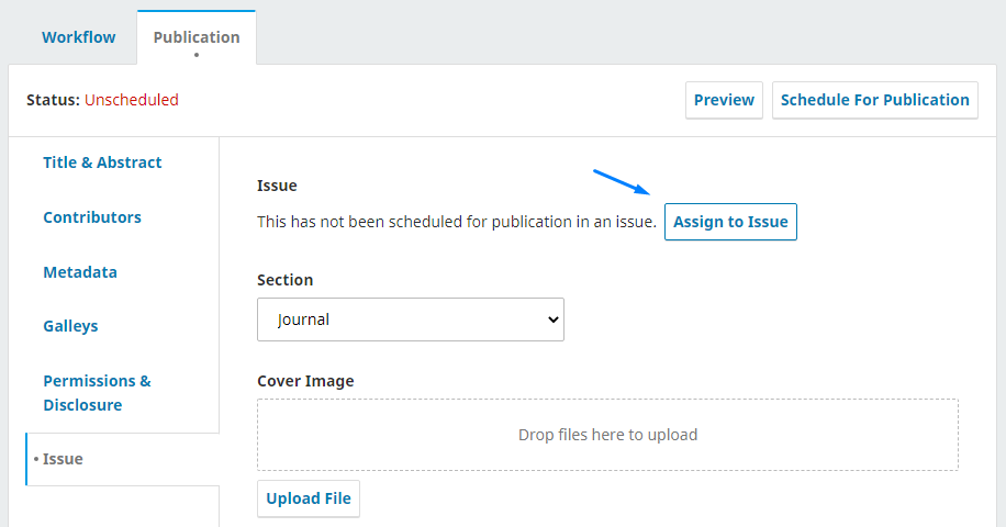 """Articles that are being checked, select Publication > Issue -> """"Assign to Issue""""."""