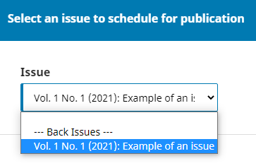 """Choosing the """"Back issue"""" for the article"""
