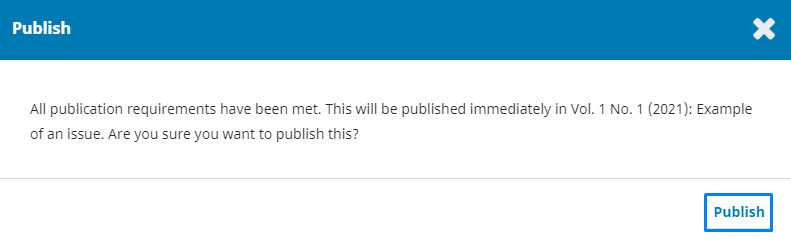 """Click """"Publish"""" to confirm publication of the article."""