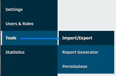 Selects Tools -> Import / Export