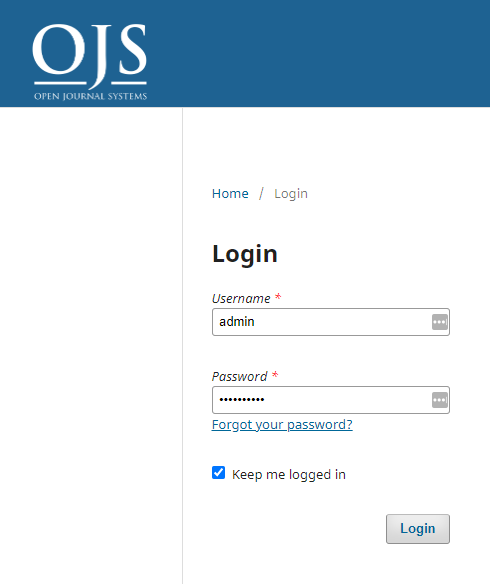 Login to the OJS site using the admin account that was created earlier.