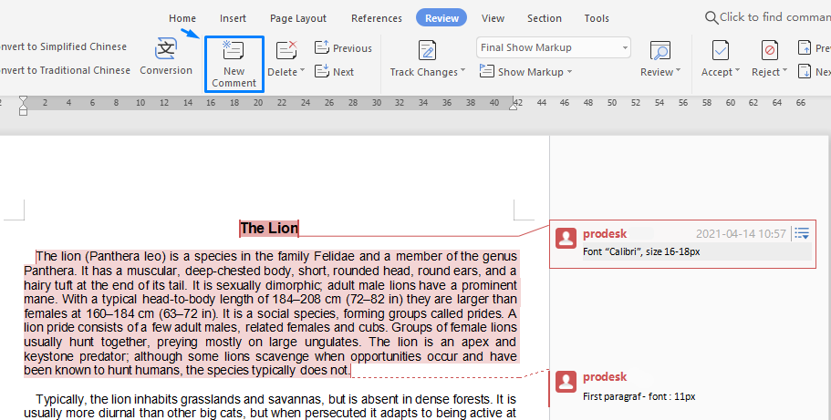 """Once open, in the menu select """"Review"""", continue to block several selected sentences then select """"New Comment"""". And you can start reviewing the article. (Files opened with WPS Office / or Microsoft word)."""