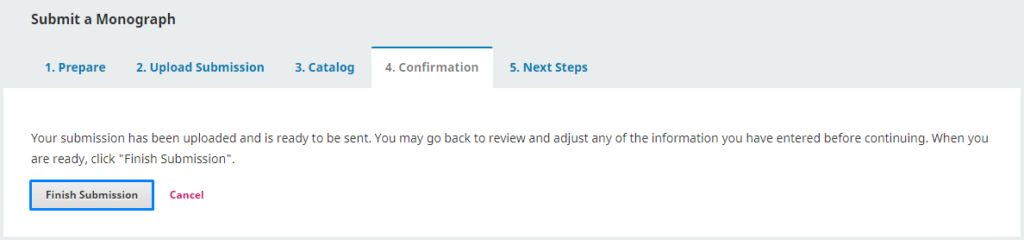 """In the """"Confirmation"""" step, you can go back to check the data you entered. If you are sure, you can click """"Finish Submission""""."""