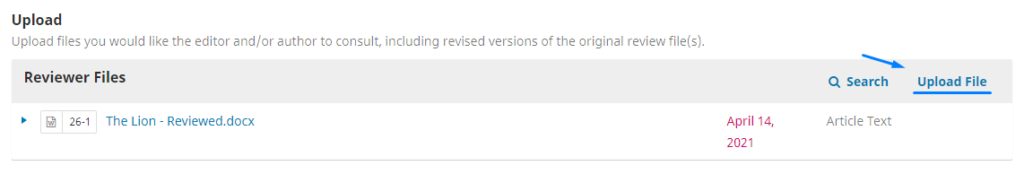 """if you are finished and want to upload the review file, you can upload it in """"File Reviewer"""" then select """"Upload File""""."""
